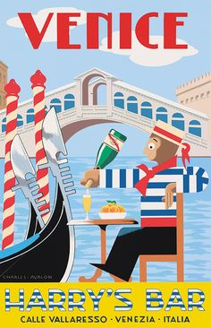 'Harry's Bar - Venice' by Charles Avalon - Vintage travel posters - Art Deco - Pullman Editions