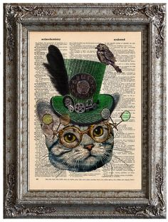 Cat with Steampunk Hat 2 Zoie on Vintage Upcycled Dictionary Art Print Book Art Print Recycled Amazing Animalia Steampunk Kunst, Steampunk Cat, Style Steampunk, Art Pages, Book Pages, Steampunk Animals, Bild Tattoos, Dictionary Art, Upcycled Vintage