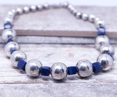 Sterling Silver and Blue Lapis Vintage Indian Necklace #vintagenecklace #blulelapis #indianjewewlry #downtowngypsy #vintage