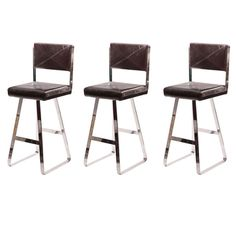 Three Flat Bar Chrome and Leather Barstools   From a unique collection of antique and modern stools at https://www.1stdibs.com/furniture/seating/stools/