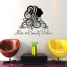 Wall Decals Beauty Salon Girl Hair Hairstyle Flower Vinyl Sticker Decor DA3775