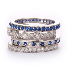 SusanB.Designs Simulated Diamond and Sapphire Stackable Bands Set of 4 Rings Sterling Silver