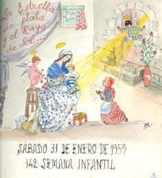"""Cartell il·lustrat per la bibliotecària Natàlia Hernàndez, per informar de l'hora del conte destinada al dia 31 de gener de 1959 en la biblioteca Pare Miquel d'Esplugues. El títol de la narració fou: """"La estrella de plata y el rayo de sol""""."""