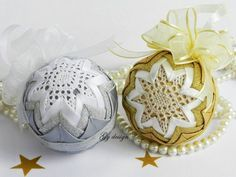 Set of lace Christmas ornament silver ornament quilted by Gydesi