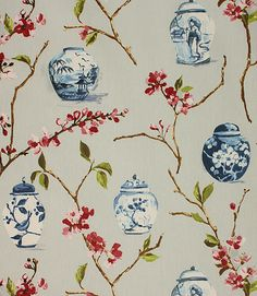 Bring an oriental touch to your room with this contemporary fabric depicting ginger jars and blossom. This fabric is made from 100% cotton and is suitable for blinds, cushions and curtains. Our online store and shops in Burford and Cheltenham have huge stocks of discount curtain and upholstery fabrics.