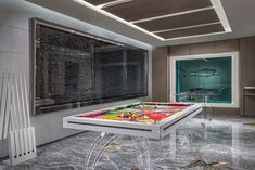 damien hirst has incorporated many of his own works in his design of a luxury two-story hotel suite at the palms casino resort las vegas.