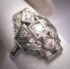 Antique Diamond Wedding Ring Vintage Art Deco 1/2ct WG via Etsy