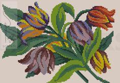Cross Stitch Borders, Cross Stitch Flowers, Cross Stitching, Cross Stitch Embroidery, Hand Embroidery, Cross Stitch Patterns, Tulips Flowers, Fabric Flowers, Flower Patterns