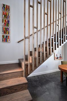 Modern Staircase Design Ideas - Search pictures of modern stairs as well as discover design and also layout ideas to motivate your very own modern staircase remodel, including unique railings and storage space . Modern Stair Railing, Wrought Iron Stair Railing, Stair Railing Design, Stair Handrail, Staircase Railings, Modern Stairs, Staircase Ideas, Staircases, Open Staircase