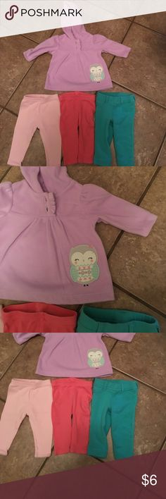 BOGO EVERY LISTING baby girl 0-3 month bundle Everything NWOT except turquoise leggings worn once, perfect condition. 3 pair of leggings and fleece hoodie that matches all 3 pants. Smoke free and pet free home, bundle and save even more. Thanks! Child of Mine Carters Bottoms Leggings