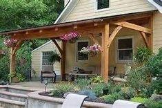 Pergola Terrasse Plante - - - Pergola With Roof Garage Doors Patio Roof, Back Patio, Backyard Patio, Small Patio, Porch Roof Design, Deck Gazebo, Wedding Pergola, Pergola Carport, Porch Designs