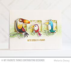 Birds of a Feather stamp set and Die-namics, Stitched Interactive Window Trio Die-namics - Melania Deasy #mftstamps