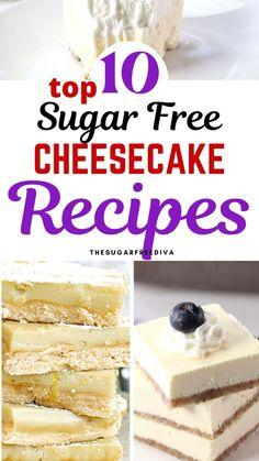 Sugarfree Cheesecake Recipes, Sugar Free Cheesecake, Low Carb Cheesecake, Dessert Recipes, Dessert Ideas, Sugar Free Jam, Sugar Free Pudding, Sugar Free Baking, Low Sugar Recipes