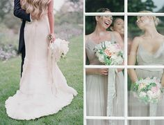grey bridesmaid dresses, Romantic Garden Wedding by Elizabeth Messina, Mindy Rice and Lisa Vorce // Inspired by This