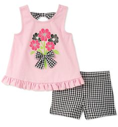 Take a look at this Pink Floral Tank & Black & White Gingham Shorts - Toddler today!Enliven her look with the sunny style of this cotton-blend set featuring a bouquet at center stage and a timeless gingham pattern on the shorts. Toddler Fashion, Fashion Kids, Toddler Outfits, Kids Outfits, Toddler Girls, Baby Girls, Batman Outfits, Rock Outfits, Emo Outfits