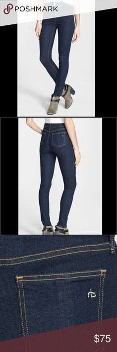 "Rag & bone Slim from the waist to the ankle, these(HERITAGE )dark-wash skinny jeans feature a vintage-inspired high rise for a lean, leg-lengthening silhouette. 31"" inseam; 11"" leg opening; 10"" front rise; 14"" back rise (size 29). Zip fly with button closure. Five-pocket style. Dark dye may transfer to lighter materials. 98% cotton, 2% polyurethane. Machine wash cold, line dry. By rag & bone/JEAN; made in the USA. Only worn a couple of times (smoke and pet free) rag & bone Jeans Skinny"