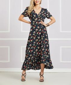 3f267465d1 Another great find on  zulily! Navy Floral Asymmetrical-Ruffle Surplice  Midi Dress -