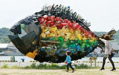 large sea bream object, made from colourful debris found drifting at sea, produced by Japanese art group Yodogawa Tecnique, displayed at the Setouchi Triennale art event at the port of Uno Plastic In The Sea, Plastic Art, Art Environnemental, Trash Art, Recycled Art Projects, Fish Sculpture, Junk Art, Environmental Art, Okayama