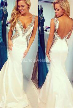 White 2015 Straps Mermaid Sequins Crystal Sweep Train Taffeta Evening White Prom  Dress Backless Long Mermaid Straps Beaded Bodice Sequins Prom Dresses Looks  ... 45bc44f30f9b