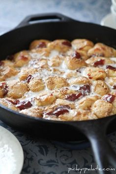 Peanut butter & jelly skillet monkey bread