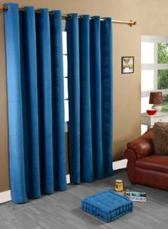 Homescapes 1 Pair of Rajput Ribbed Curtains Blue, 90 Inch Drop, 100% Cotton Ring Top, 66x90 Inch