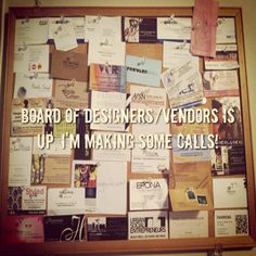 I found this cool cork board on Craigslist. Now I can bring some order to designer/vendor business cards I constantly receive. Time to start making some calls! #merchandise #planning #istyleismile