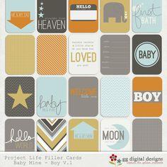Baby Boy Project Life Filler Cards - GG Digital Designs I just love ALL of Leslie's designs!