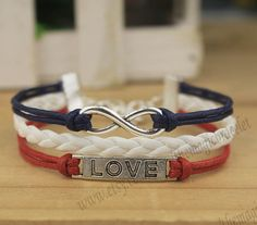 Love infinity bracelet  the American flag by themagicbracelet, $2.99 Wait, $2.99?!
