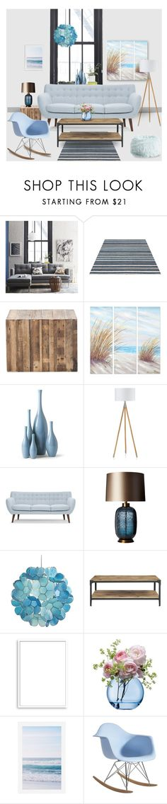 """""""Serenity Blue"""" by magnolialily-prints ❤ liked on Polyvore featuring interior, interiors, interior design, home, home decor, interior decorating, West Elm, Yosemite Home Décor, Urbia and Heathfield & Co."""