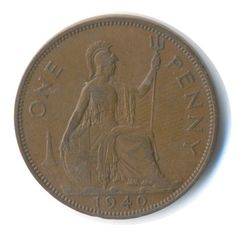 George VI One Penny 1940 Coin Code: RSC2188 by COINSnCARDS on Etsy