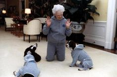 First Lady Barbara Bush wears matching sweatsuits with her dogs Ranger and Millie in the White House: