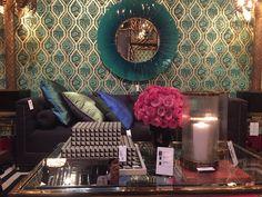 Интерьер, Декор Гостиная Зеркало диван столик Обои Бирюзовый Арт Деко Eichholz Interior design, Decor Living room Sofa, table, Mirror. Wallpaper Art Deco by Eichholtz