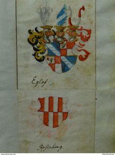 Heraldiek - Aquarelle, 4 X Wapens Van Eglof - Rosenberg - Malentein - Gernberg - Prenten & Gravure