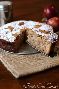 Apple Cake (This dessert is like a combination of a regular cake, a cheese cake, and an apple pie.) www.tinaschic.com