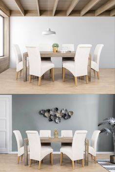 The Newton 6 Seater Dining Set combines contemporary and modern farmhouse styling with its beautiful wooden tones and plush, comfortable seating. Table Measurements, Soft Chair, 7 Piece Dining Set, Modern Farmhouse Style, Chair Fabric, Wood Veneer, Plush, Dining Table, Contemporary