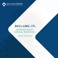 Whether you're here for a day, a week or a lifetime, Bellaire, TX welcomes you. We are looking for surgical techs interested in a travel contract to Bellaire, Tx. Attractive pay with a flexible schedule. Interested? Call 630.734.3016 for more details. Send references and resume to AlliedTravelTeam@AHCStaff.com #Texas #techs #Operatingroom #travel Find A Career, Travel Nursing, Schedule, Resume, Health Care, Texas, Day, Timeline, Cv Design