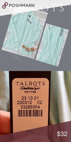 Mint green soft cardigan NWT Perfect layering cardigan drapes softly.  Easy to grab and lounge around in comfort. Great 🎁! Talbots Sweaters