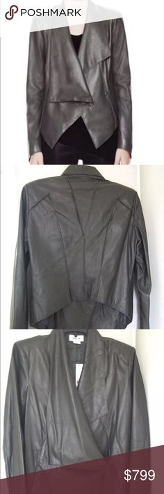 HELMUT LANG Leather Jacket NWT HELMUT LANG overlapped leather jacket in color Mica / Dark Grey. Brand new retails for $1398. Price is firm. Helmut Lang Jackets & Coats