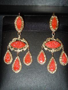 PLATIMIRO FIORENZA Trapani - coral earrings Coral Earrings, Coral Jewelry, Drop Earrings, Art Carved, Summer Street, Gypsy, Surf, Stones, Bohemian