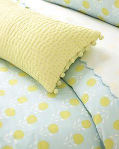 Blossom Duvet Cover & Metallic Pickstitch Lumbar Pillow Cover   Image via #serenaandlily
