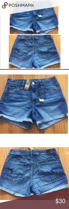 NWT!💗 AEO Denim Hi-Rise Shortie Shorts NWT!💗 Brand new American Eagle high rises! 🙌 Only selling because I ordered online and they don't fit! Medium Wash😍 Smoke free/pet free home😍 If you don't like the price, feel free to make me an offer or add it to a bundle and I will send you an exclusive offer! ☺️👍 American Eagle Outfitters Shorts Jean Shorts
