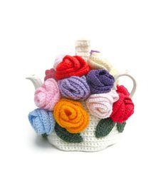 Beautymous Crochet Rose Teapot Cosy. <3