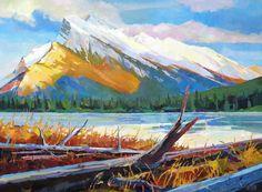 "'Fallen Trees below Rundle' 30"" x 40"" acrylic on canvas by Randy Hayashi"