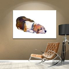 """Red Barrel Studio Beagle Thoughts Painting Print on Wrapped Canvas Size: 36"""" H x 48"""" W x 2"""" D"""