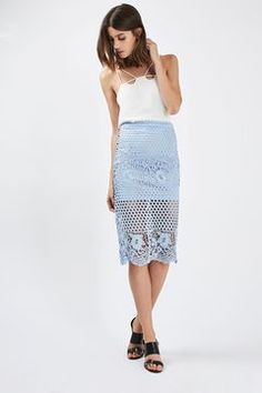 Lace Panelled Pencil Skirt