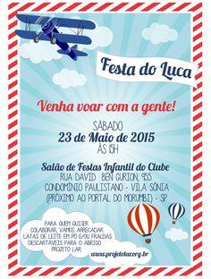 Convite - Festa de Aniversário Infantil Avião