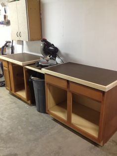 """Miter saw station. (great """"garbage"""" can placement!!)"""