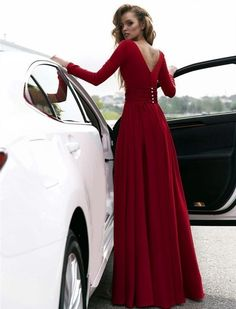 Sexy Red Prom Dress V-neck Long Sleeves Prom Dresses Chiffon Evening Dress