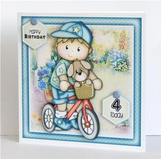 Josh on Bike Mini Kit on Craftsuprint designed by Janet Roberts - made by Denise Murray - Printed at a slightly reduced size onto matte photo paper,mounted on a 7x7 card blank and attached the insert.I used 3d foam pads and glue gel for the decoupage elements and added card candi to my chosen sentiments...so cute!This finished card can be made with any of the sentiments/ages listed above..just ask :) - Now available for download!