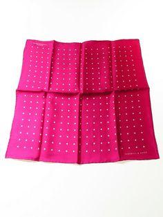 Turnbull & Asser silk pocket square cerise pink white polka dot - Tweedmans Vintage